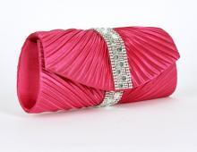 Pink satinclutch med dekor