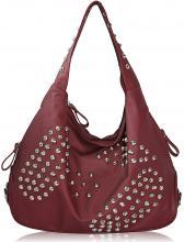 Röd hobo handväska med nitdekor