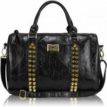 Svart nitdekorerad handväska med lång rem