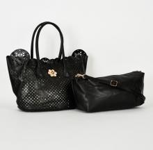 Svart 2 in 1 shopper väska