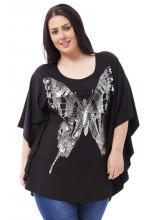 Musta oversize paita perhosella