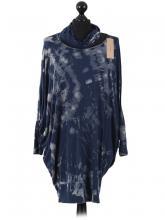 Mörkblå tie dye oversize tunikatröja