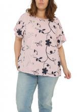 Rosa-blommig tröja i linne