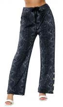 Tummansiniset housut käärmekuviolla