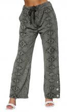 Harmaat housut käärmekuviolla