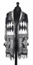 Grå-svart aztekmönstrad jacka