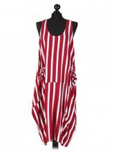 Viininpuna-valkoraidallinen mekko