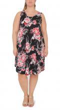 Svart-röd blommig klänning