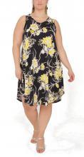 Svart-gul blommig klänning