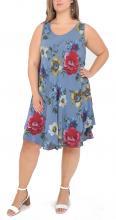 Denim-blommig midiklänning