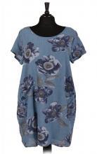 Denim-blommig klänning