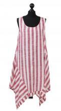 Vinröd-vit randig klänning