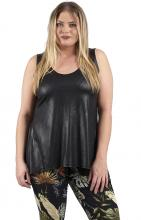 Svart leather look topp