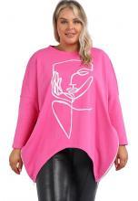 Pinkki paita kasvoilla