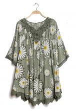 Khaki-blommig tunika-poncho