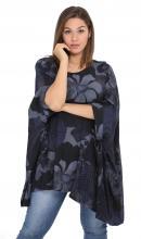 Tummansini-kukallinen tunika-poncho