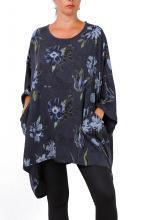 Tummanharmaa-kukallinen tunika-poncho