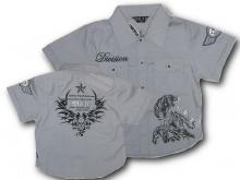 Harmaa, lyhythihainen paita printillä